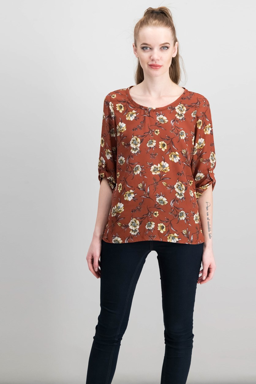 Floral Top, Brown Combo