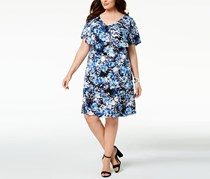 Connected Apparel Printed Flutter-Sleeve Dress, Blue