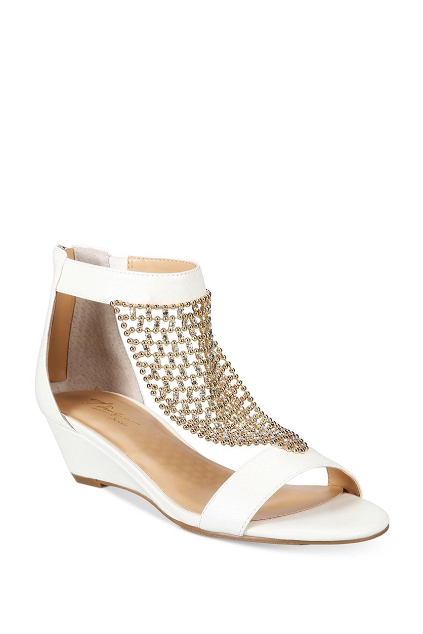 Women's Tibby Mesh Embellished Wedge Sandals, White