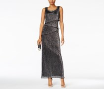 Connected Women's Beaded Tiered Gown, Black