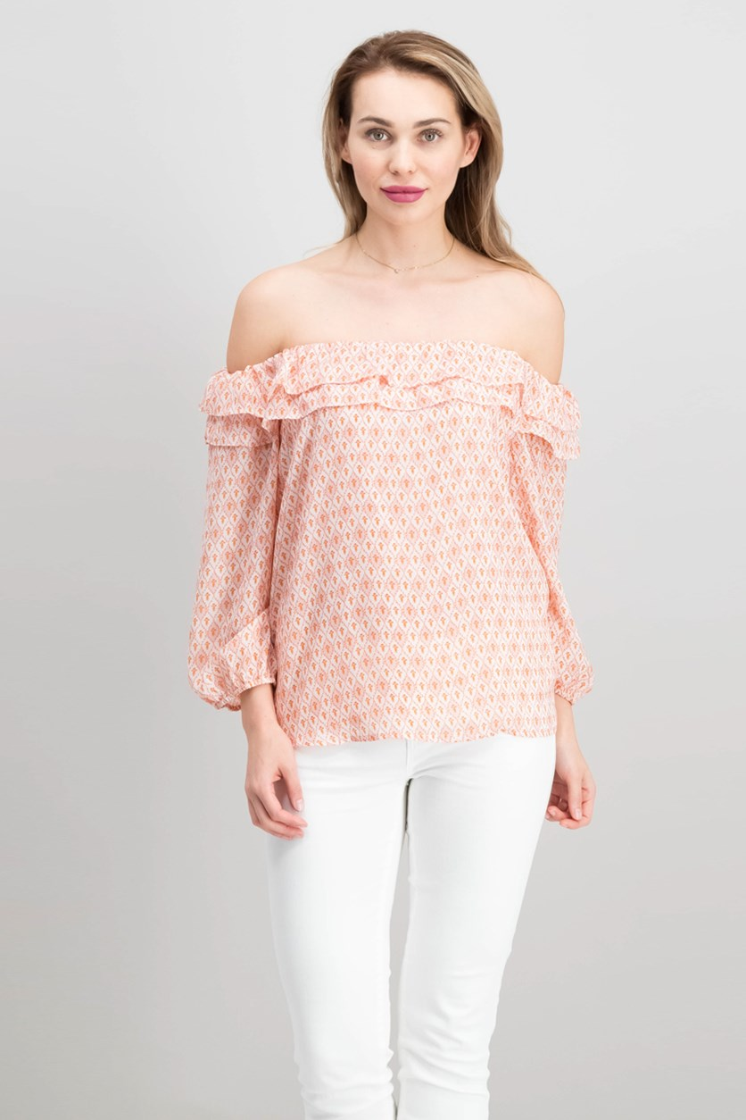 Off Shoulder Printed Top, Peach