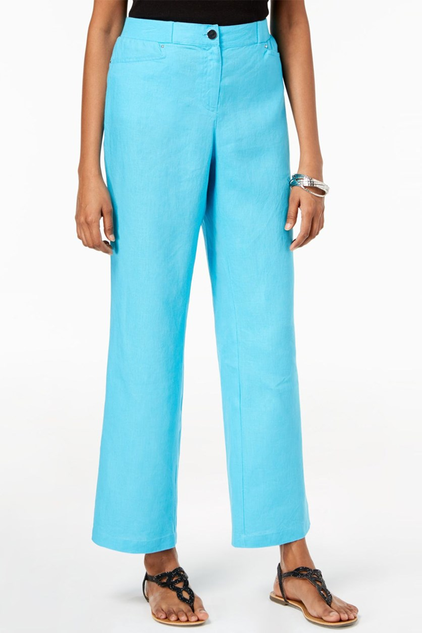 Women Linen Wide-Leg Pants, Blue Reef Aqua