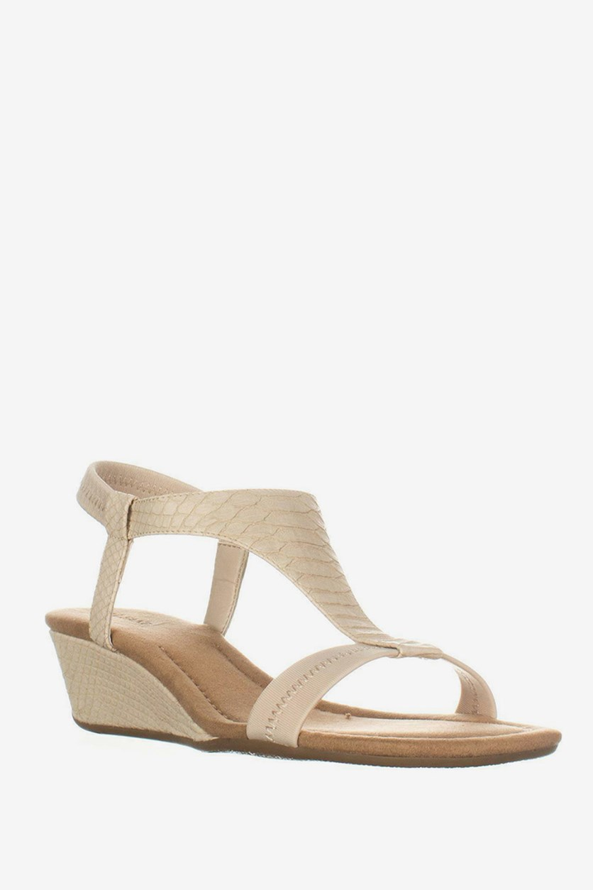 Vacanza Square Toe Wedge T-Strap Sandals, Pale