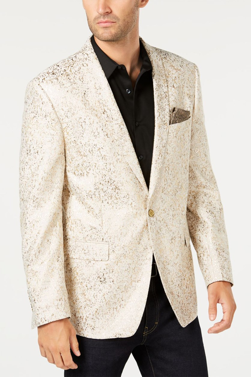 Mens Metallic Blazer, Gold Metallic