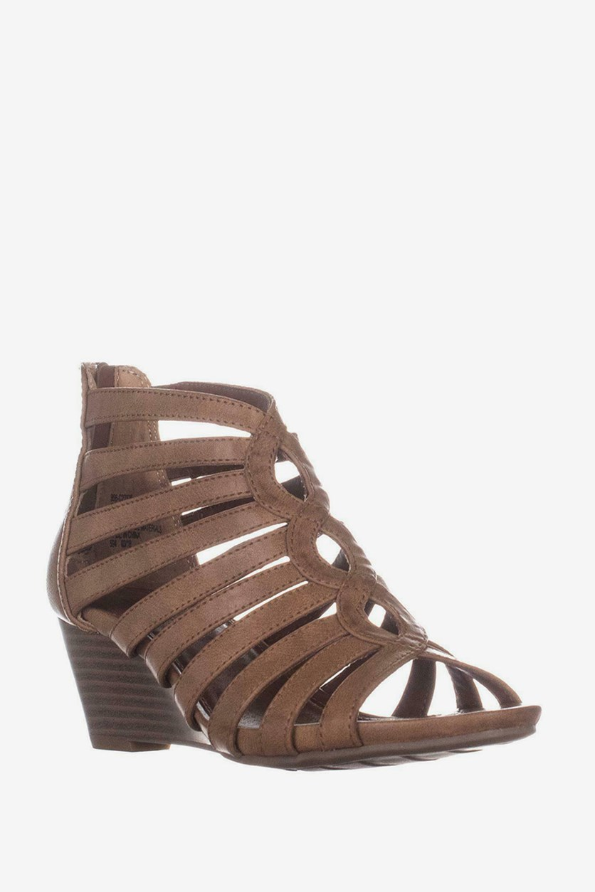 Victoria Strappy Wedge Sandals, Brown