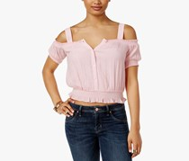 Guess Women's Delta Smocked Top, Pink