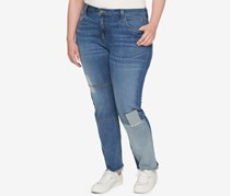 Tommy Hilfiger Plus Size Patched Raw-Hem Jeans, Blue