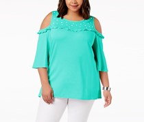NY Collection Plus Size Cold-Shoulder Top, Turquoise
