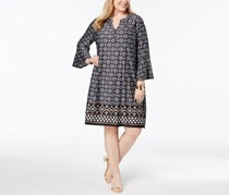 Ny Collection Plus Size Printed Shift Dress,  Black Aztec/Grey