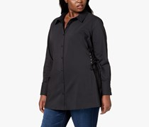 NY Collection Plus Size Corset Shirt, Jet Black