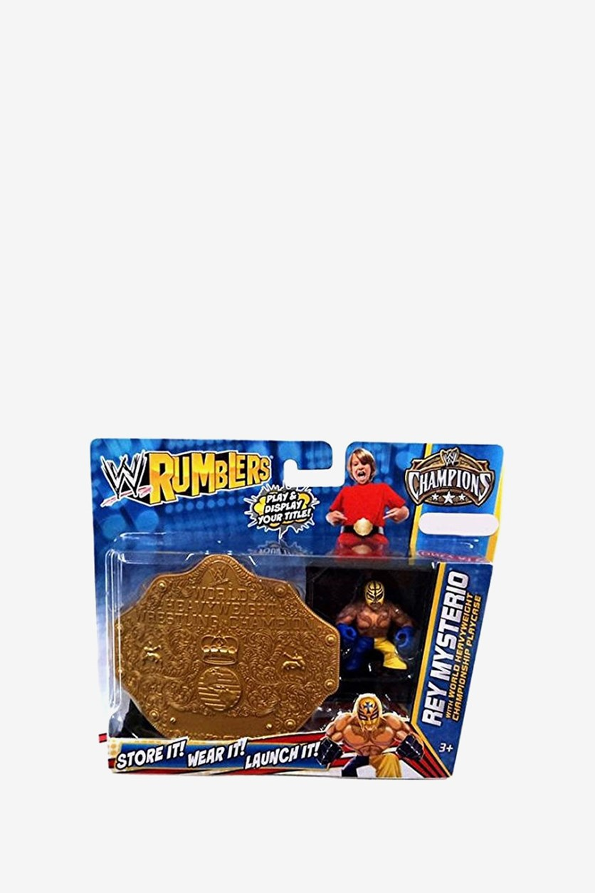 WWE Wrestling Rumblers Exclusive Rey Mysterio with World Heavyweight Championship Playcase, Combo