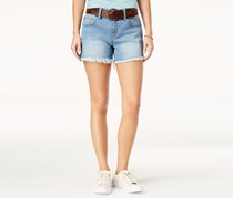 Dollhouse Juniors' Belted Frayed-Hem Denim Shorts, Ipanema