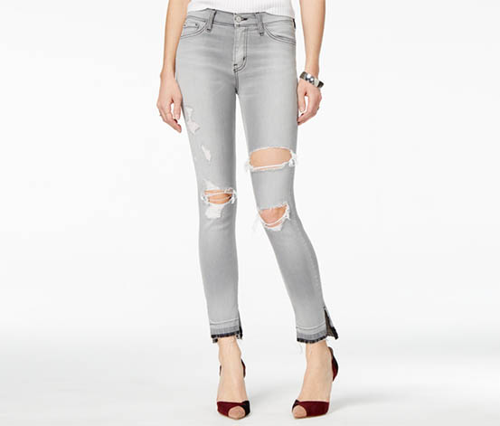 Flying Monkey Cotton Ripped Wash Skinny Jeans, Grey