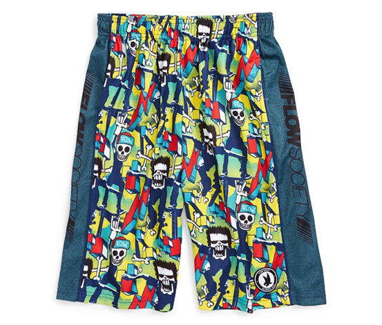 Flow Society 'Skate Skeleton Attack' Lacrosse Shorts,Navy/Yellow