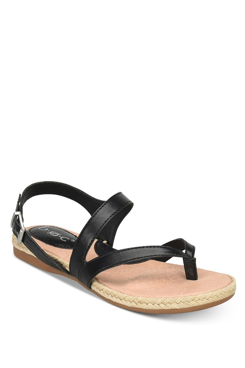 Women's  Lucila Flat Thong Sandals, Black