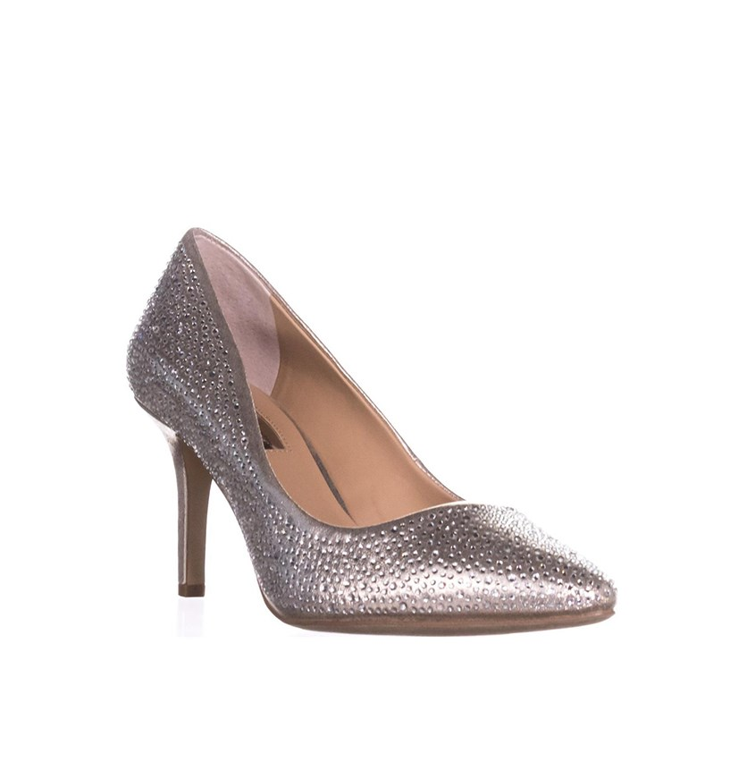 Zitah Pointed Toe Rhinestone Evening Pumps, Pearl Gold