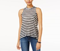 Almost Famous Juniors Striped Mock-Neck Tan, Black