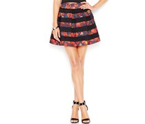 Guess High-Waist Pleated Skirt, Black/Red