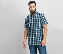 G.h. Bass & Co. Men's Summit Creek Seersucker Plaid Short-Sleeve Shirt, Mood Indigo