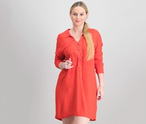 1.STATE Women's Lace-Up Shirtdress, Poppy Red