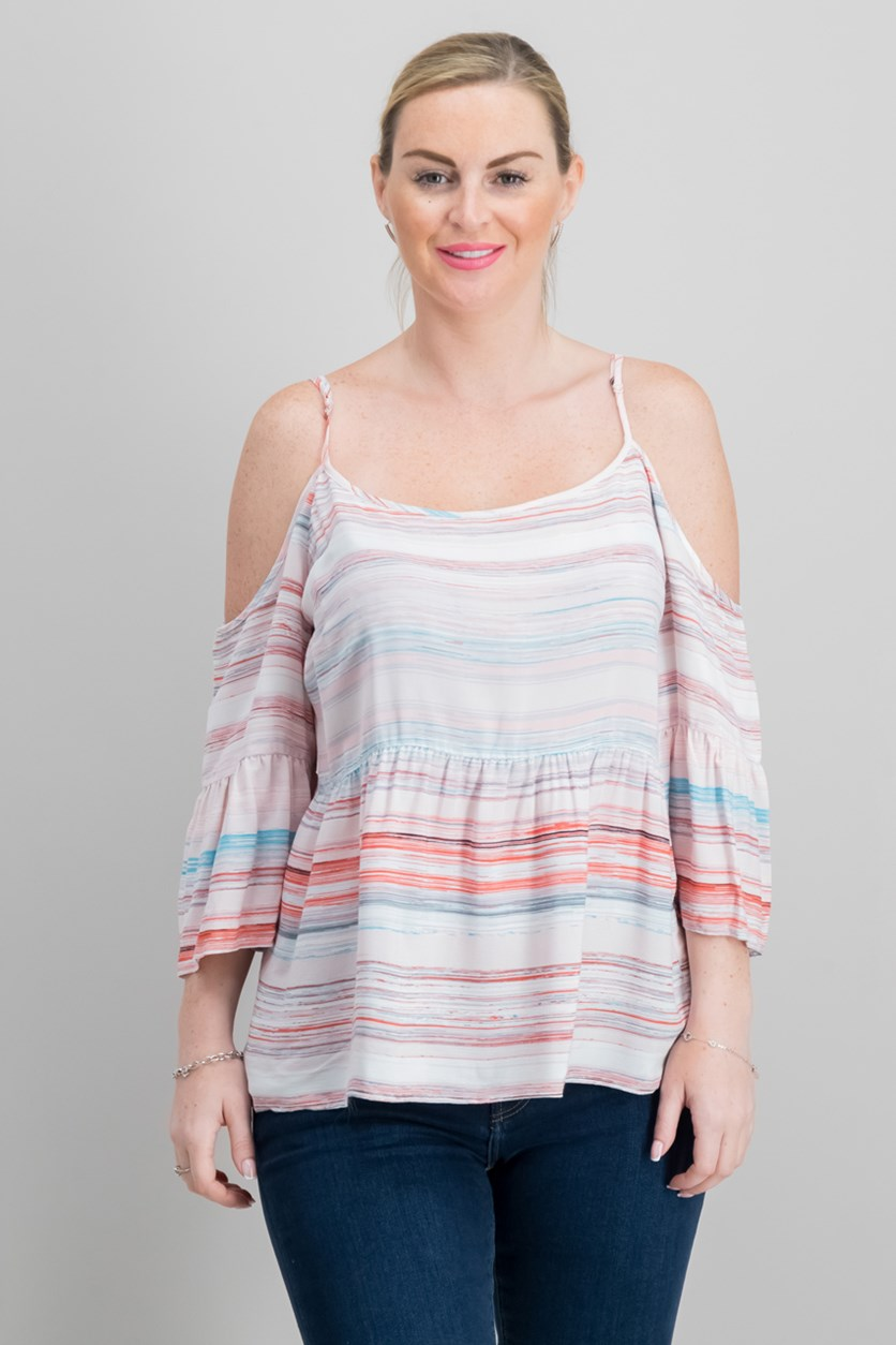 Striped Ruffled Cold-Shoulder Top, Pink