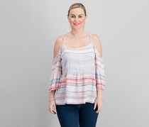 1.state Striped Ruffled Cold-Shoulder Top, Pink