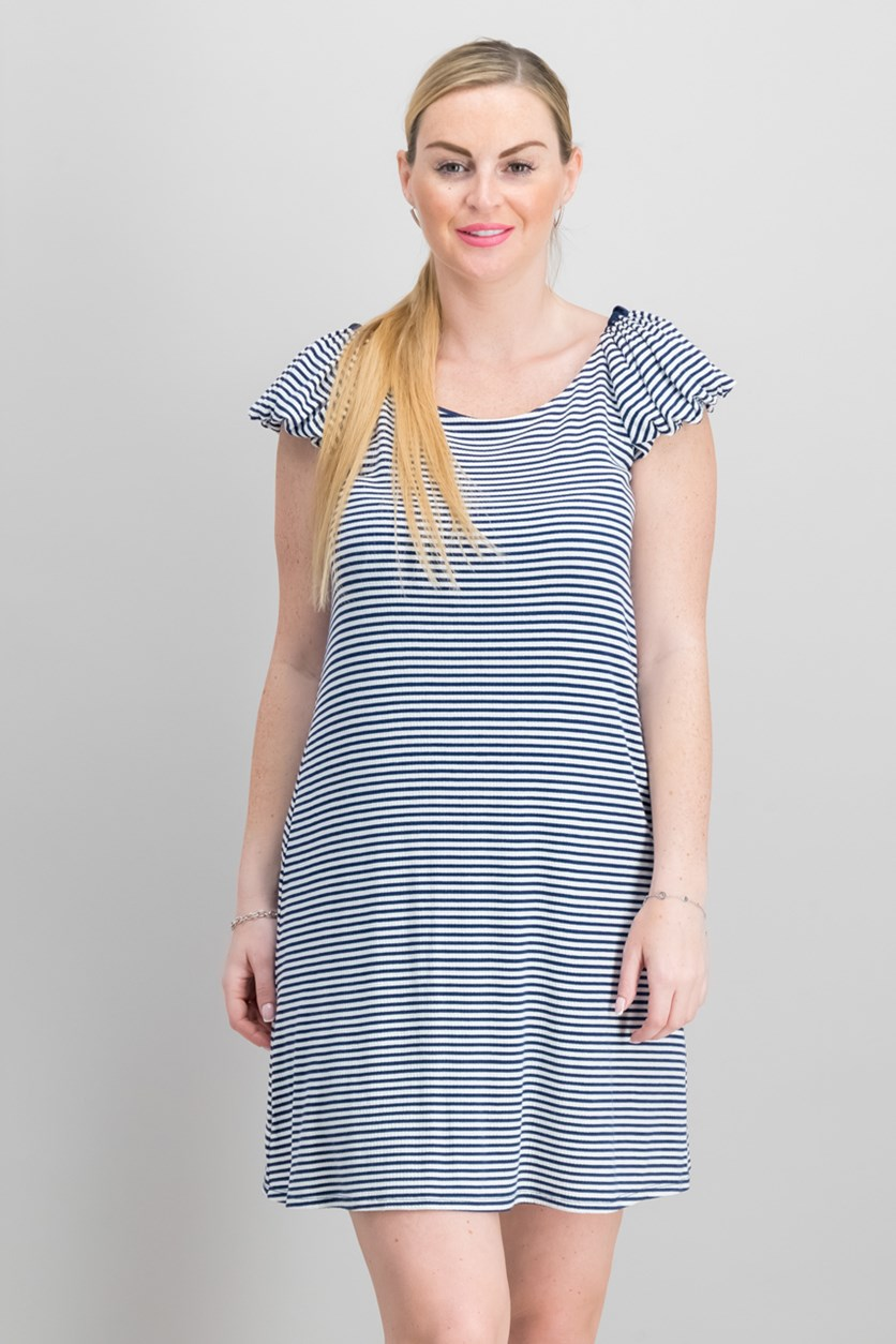 Striped Bubble-Sleeve Dress, Naval Navy