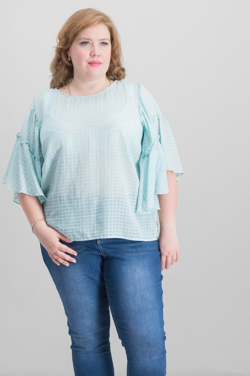 Women's Plus Size Grid-Knit Bell-Sleeve Top, Turquiose