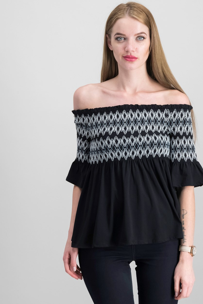 Women's Smocked Off-The-Shoulder Top, Black/White