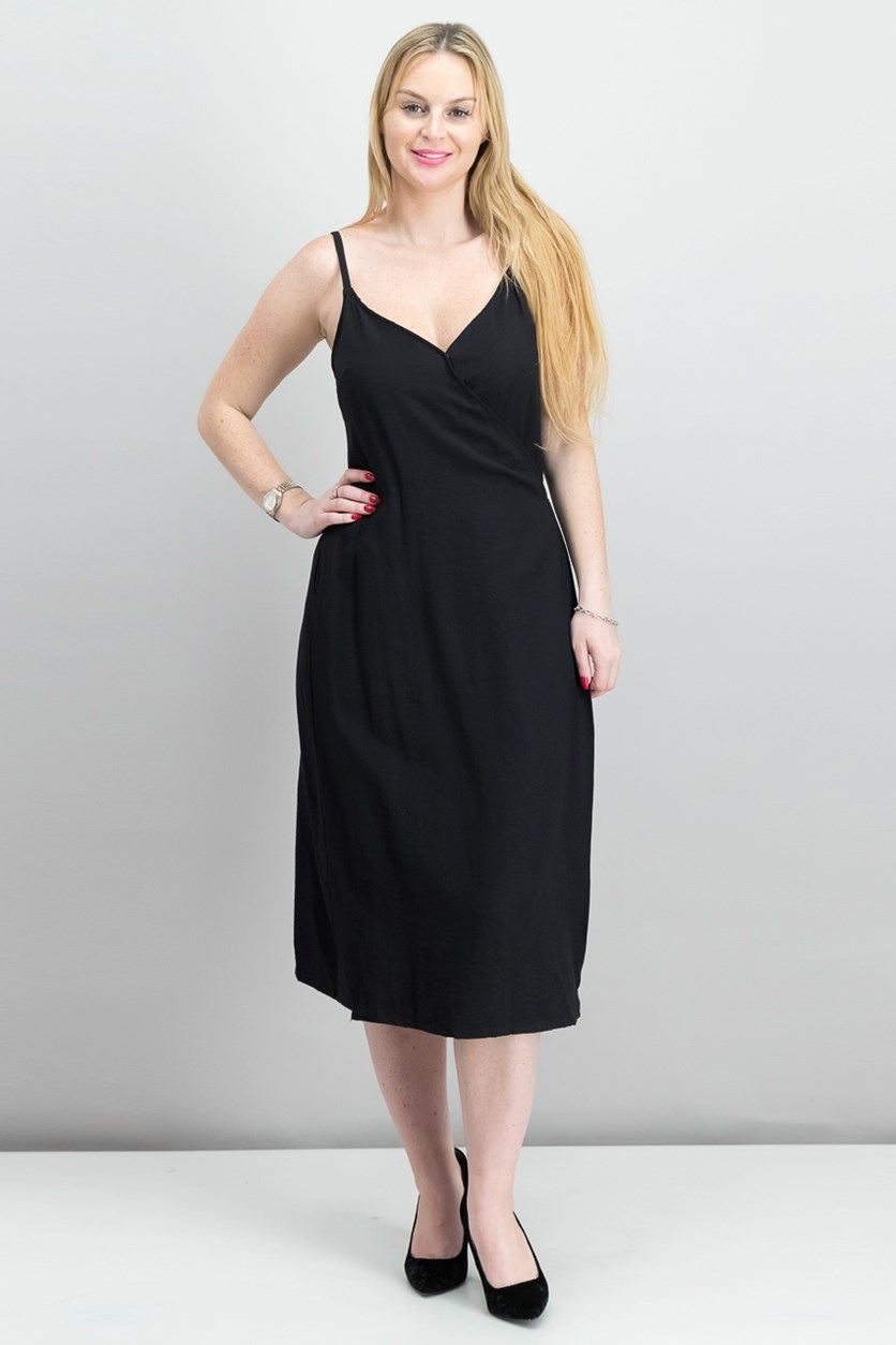 Spaghetti-Strap Wrap Dress, Rich Black