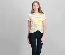 Women Striped Twist-Front Top, Rich Marigold Yellow