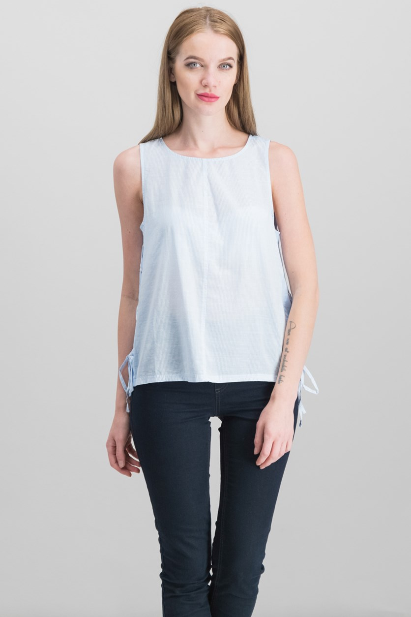 Women's Cotton Lace-Up Top, Dew Blue