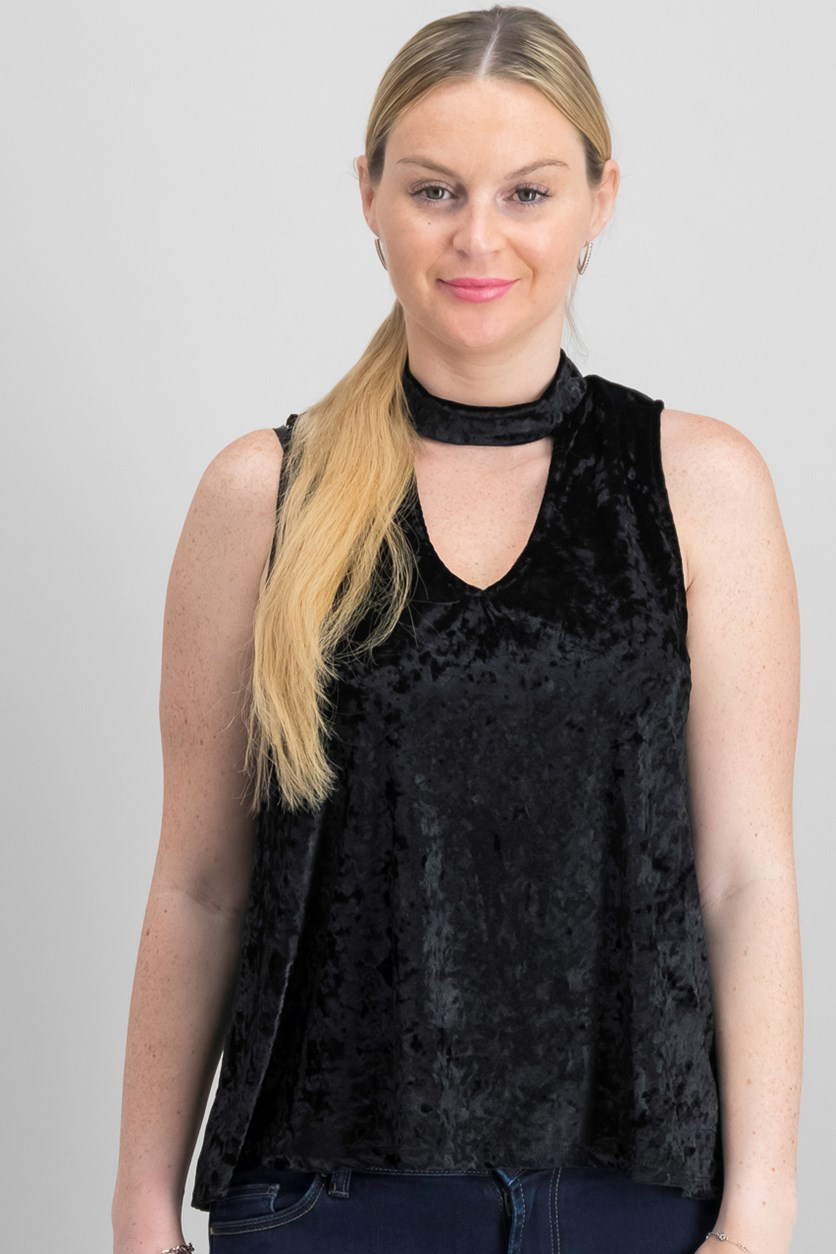 Juniors' Velvet Choker Top, Black
