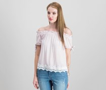 Crave Fame by Almost Famous Juniors Off-The Shoulder Gingham Top, Pink