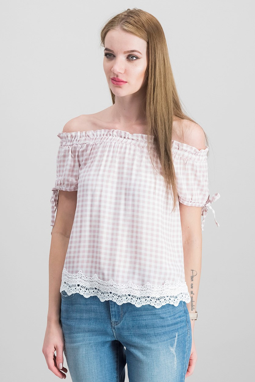 by Almost Famous Juniors Off-The Shoulder Gingham Top, Pink