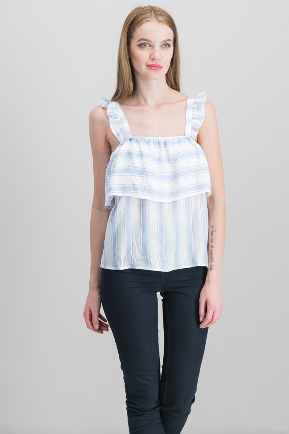 9e2a3a9cdfab79 Almost Famous Juniors  Striped Ruffle-Trimmed Tank Top