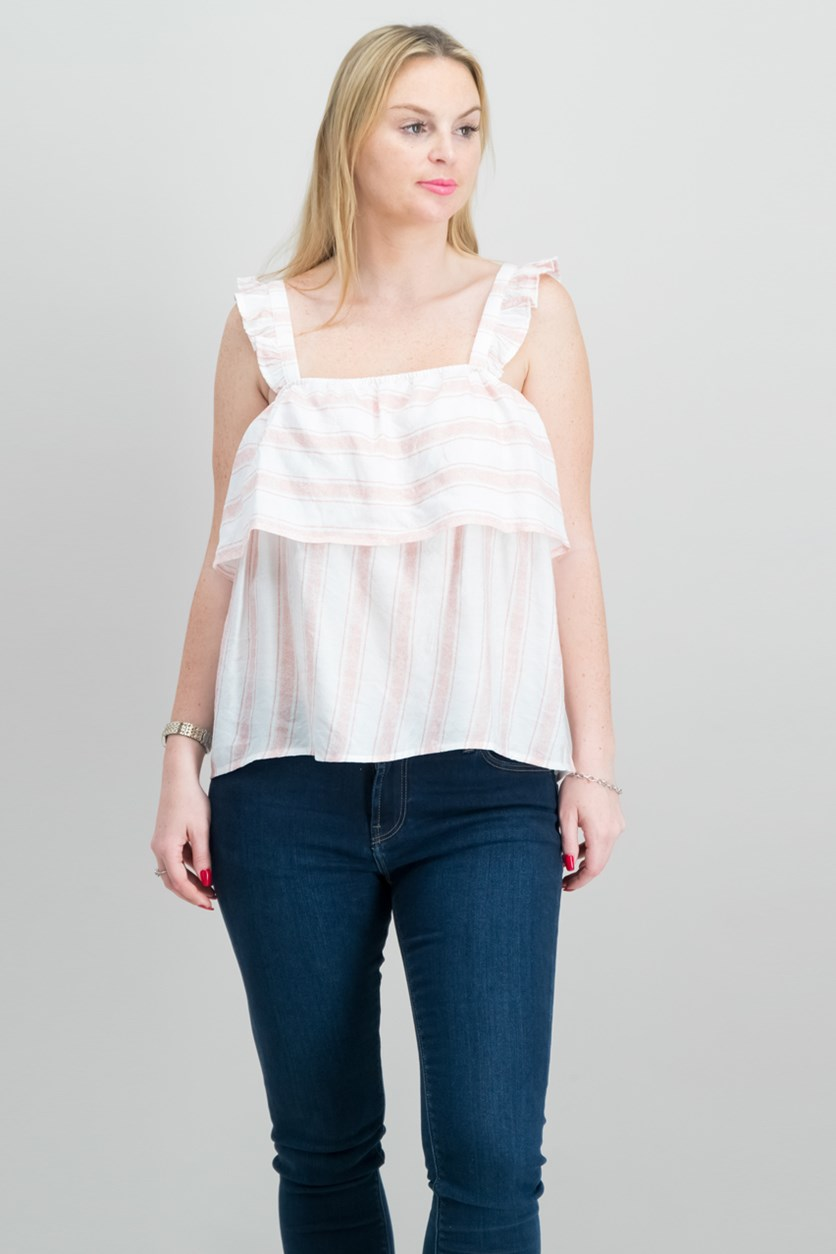 by Almost Famous Juniors Striped Ruffle-Trimme Top, Pink/White Stripe