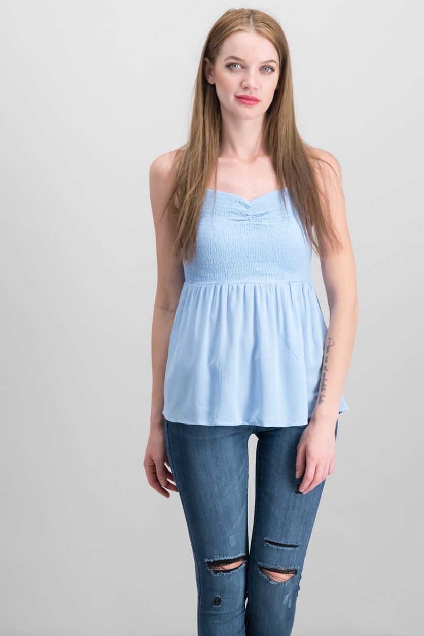 Juniors Smocked Cami Top, Chambray
