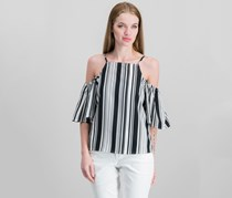 Almost Famous Juniors' Striped Cold-Shoulder Top, Black/White