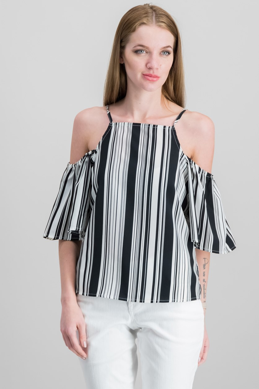 Juniors' Striped Cold-Shoulder Top, Black/White