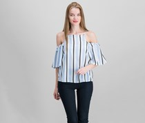 Crave Fame By Almost Famous Juniors' Striped Cold-Shoulder Top, Blue