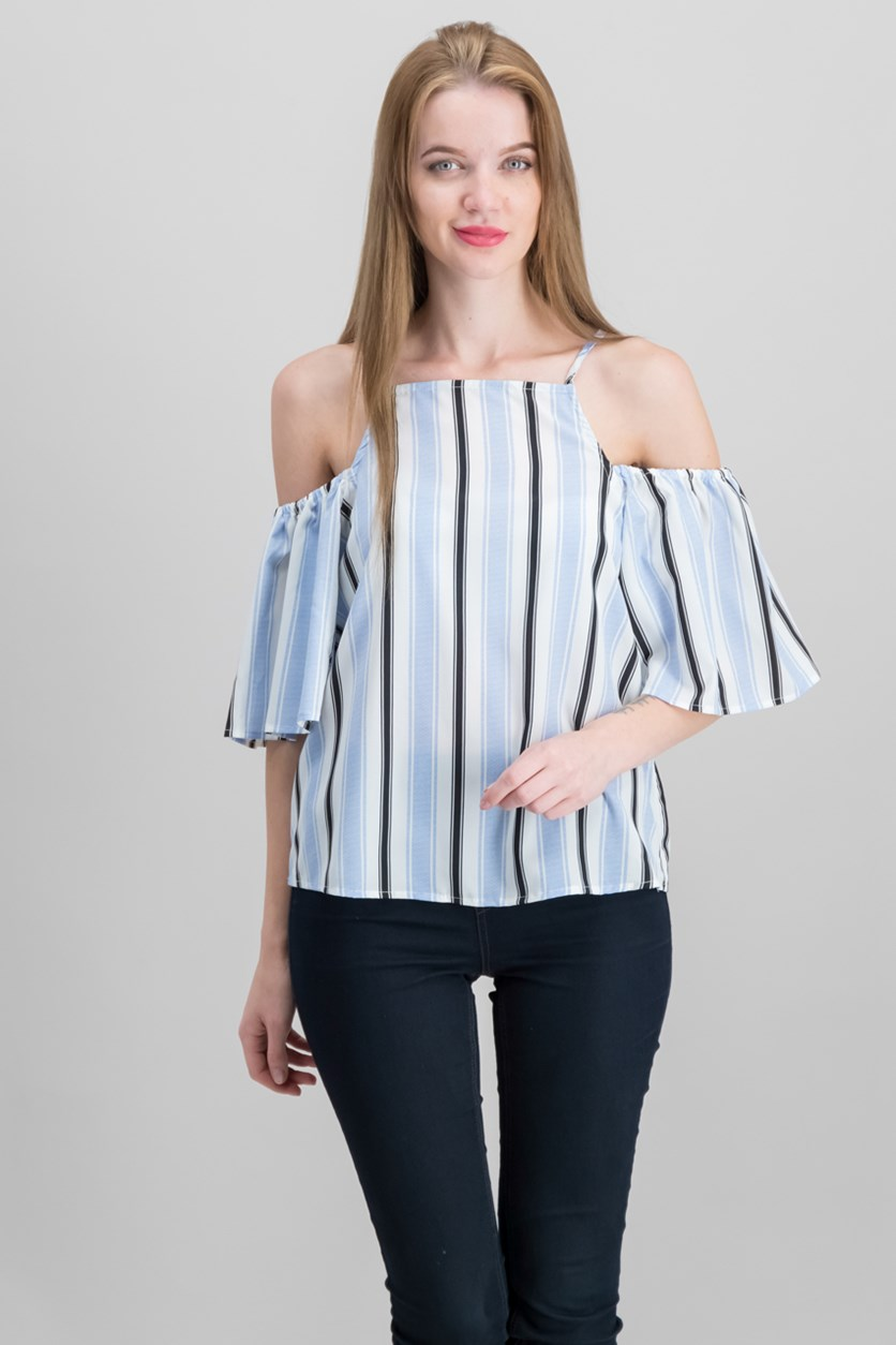 By Almost Famous Juniors' Striped Cold-Shoulder Top, Blue