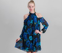 Women's High-Neck Cold-Shoulder Floral A-line Dress, Black Combo