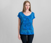 Lucky Brand Women's Printed Cap Sleeve Top, Blue Combo
