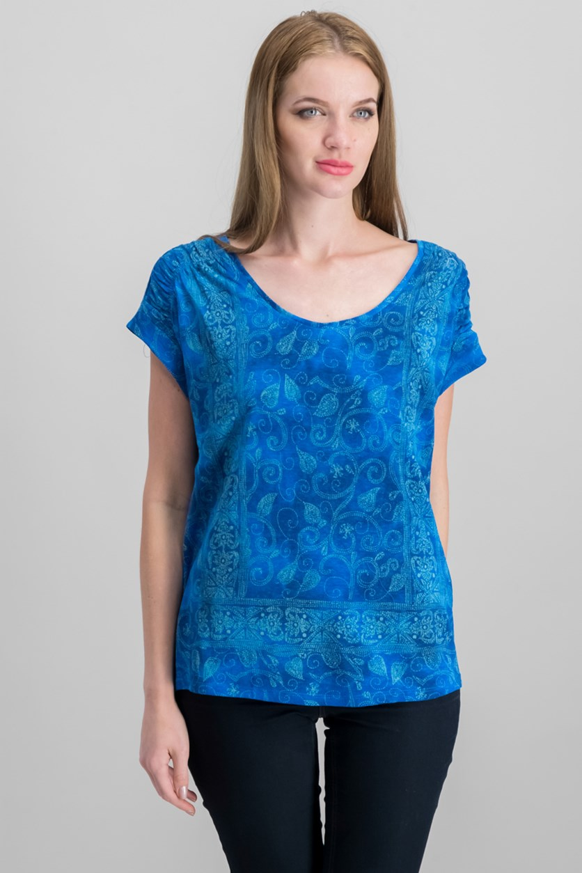 Women's Printed Cap Sleeve Top, Blue Combo