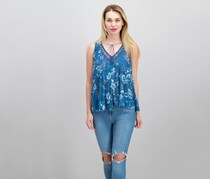 Lucky Brand Womens Floral Lace Tank, Blue Combo