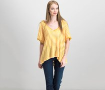 Free People Take Me Striped Contrast T-Shirt, Yellow Combo