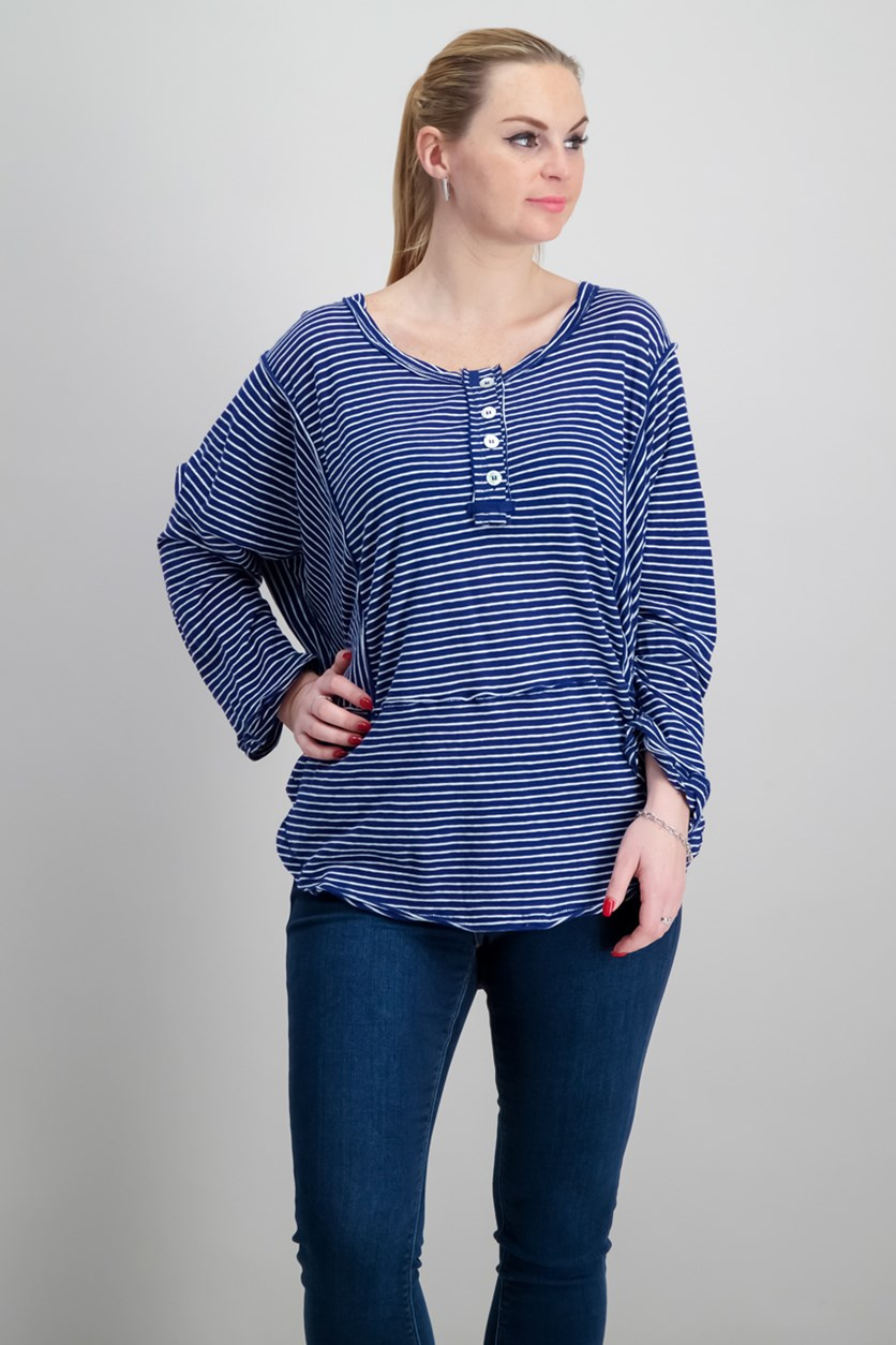 Hong Kong Striped Henley Tunic, Blue/White