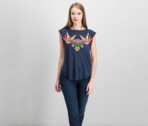 Free People Love Birds Cotton Lace-Up T-Shirt, Navy