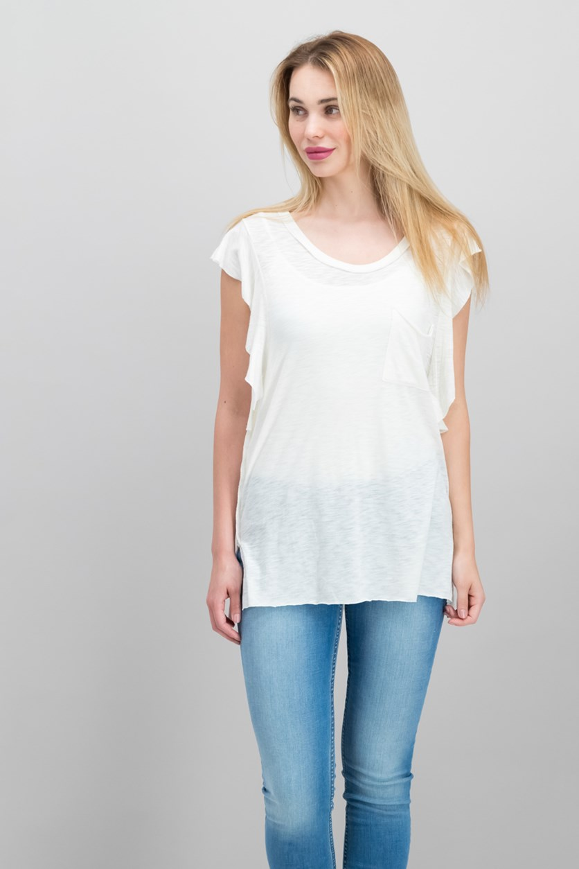 So Easy Flutter-Sleeve T-Shirt, Ivory